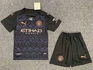 Conjunto Infantil (Camisa + Shorts) Manchester City 2020-2021 (Away-Uniforme 2)