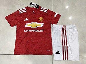 Conjunto Infantil (Camisa + Shorts) Manchester United 2020-2021 (Home-Uniforme 1)