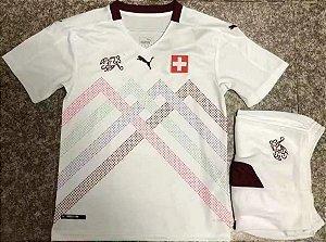 Conjunto Infantil (Camisa + Shorts) Suiça 2020-2021 (Away-Uniforme 2)