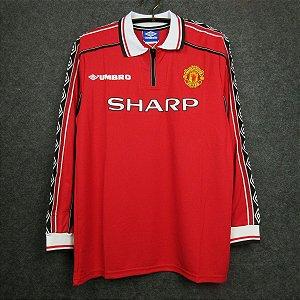 Camisa Manchester United 1998-1999 (Home-Uniforme 1) - Manga Longa