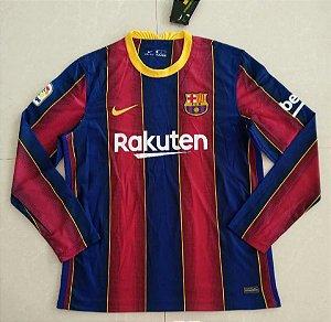 Camisa Barcelona 2020-21 (Home-Uniforme 1) - manga longa