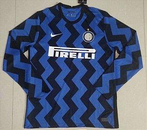 Camisa Internazionale 2020-21 (Home-Uniforme 1) - manga longa
