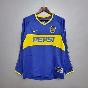 Camisa Boca Juniors 2003-2004 (Home-Uniforme 1) - Manga Longa