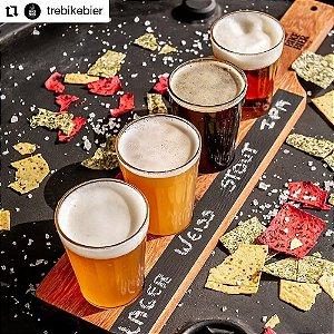 Tábua Régua de Degustação para Cerveja Chopp Cachaça Vinho - 4 copos