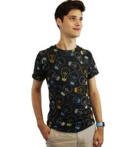 camiseta dionisio collection lampadas preto
