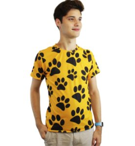 camiseta dionisio collection patinhas amarelo