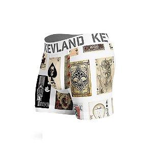 cueca boxer kevland cartas de baralho branco
