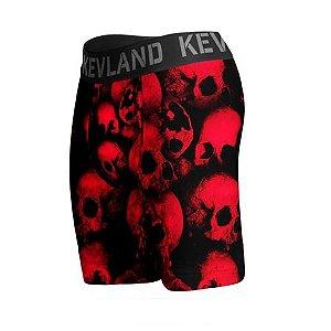 cueca boxer long leg kevland red skulls vermelho