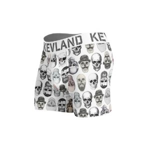 cueca boxer kevland simple skulls white branco