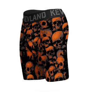 cueca boxer long leg kevland orange skull laranja