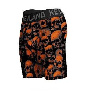 cueca boxer long leg kevland orange skull laranja