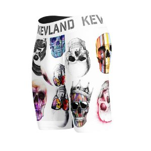 cueca boxer long leg kevland colored skulls fundo branco