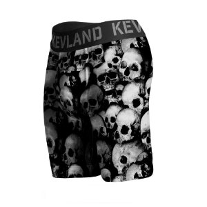 cueca boxer long leg kevland black and white skulls preto