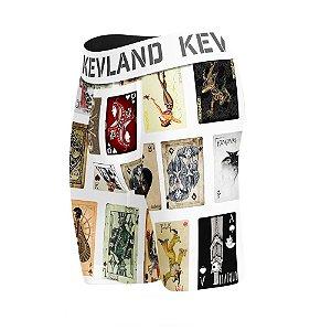 cueca boxer long leg kevland cartas de baralho branco