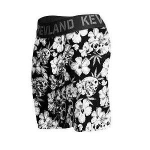 cueca boxer long leg kevland floral dark preto