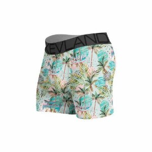 cueca boxer kevland palm trees blue