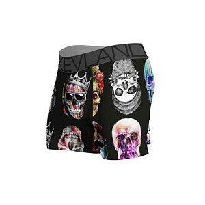 Cueca Boxer Kevland Colored Skulls Black