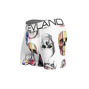 Cueca Boxer Kevland Colored Skulls White