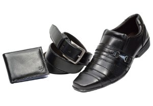 Kit 3 em 1 Sapato + cinto + carteira na cor preto Ref. 5548-958