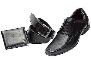 Kit 3 em 1 Sapato + cinto + carteira na cor preto Ref. 5549-959