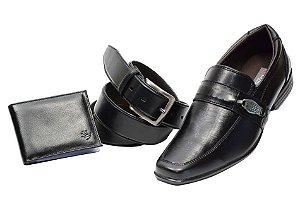 Kit 3 em 1 Sapato + cinto + carteira na cor preto Ref. 5550-960