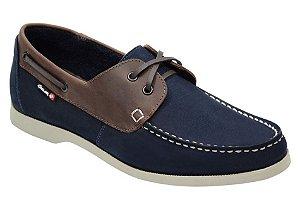 Docksider masculino em couro cor azul marinho com café REF. 1041-8600