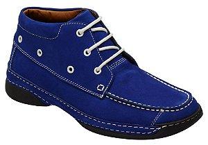 Coturno conforto tipo antistress em couro cor azul bic REF. 989-7070