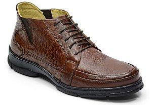 Coturno masculino de conforto em couro cor chocolate REF. 701-18000