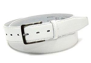 Cinto masculino em couro tamanho extra grande para cinturas de 150cm até 168cm cor branco REF. 3090-060