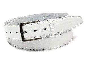 Cinto masculino em couro tamanho extra grande para cinturas de 157cm até 176cm cor branco REF. 3091-060