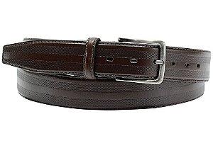 Cinto masculino em couro tamanho extra grande para cinturas de 157cm até 176cm cor café REF. 3033-107