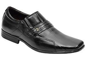 Sapato social masculino em couro legitimo na cor preto riscado Ref. 1072-193