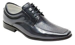 Sapato Social Tipo Italiano em Couro Verniz na Cor Marinho