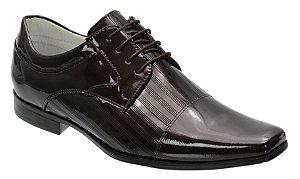 Sapato social tipo italiano em couro verniz na cor cafe REF. 1115-35