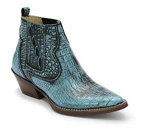 Bota texana de cano curto em couro cor azul manchada preto com estampa jacare REF. 1137-982