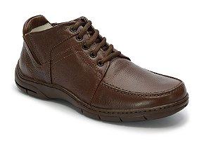 Coturno masculino de conforto em couro legitimo na cor chocolate REF. 1186-6106