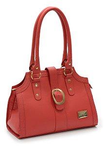 Bolsa feminina tiracolo em couro legitimo na cor vermelho REF. 1216-018