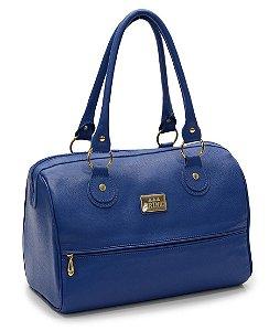 Bolsa feminina bau em couro legitimo na cor azul bic REF. 1217-009