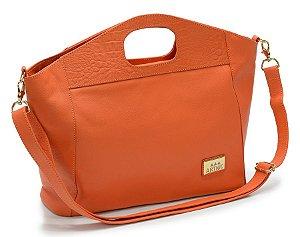 Bolsa feminina com alca transversal ou alca de mao em couro legitimo na cor tangerina REF. 1220-013