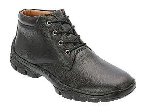 Coturno conforto em couro cor preto REF.1300-2013
