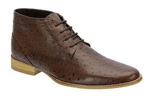 Bota casual em couro com estampa de avestruz cor café REF. 568-58001