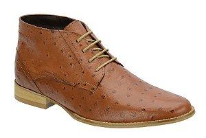 Bota casual em couro com estampa de avestruz cor havana REF. 569-58001