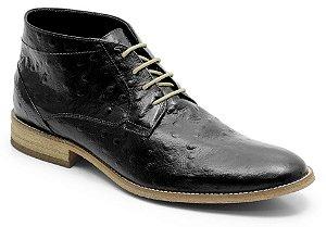 Coturno casual em couro com estampa de avestruz cor preto REF. 945-15703