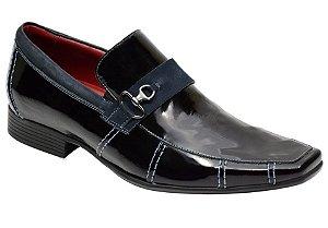 Sapato social verniz preto detalhes marinho REF. 954-60561