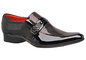 Sapato social em verniz preto com detalhe em vermelho REF. 955-62016
