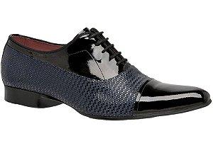 Sapato social verniz  cor preto com detalhes azul REF. 956-62024
