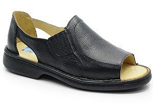 Sandália conforto antistress em couro preto REF. 580-651