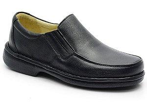 Sapato conforto antistress em couro preto REF. 582-606