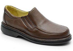 Sapato conforto antistress em couro marrom REF. 583-606