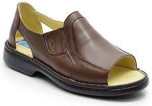 Sandália conforto em couro cor marrom  REF. 585-651